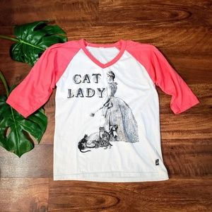 Tops - ☀️3/$10☀️ Cat Lady Raglan Style Tee
